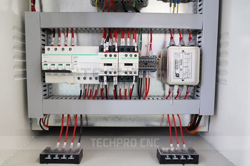 Control cabinet of cnc router machine with saw