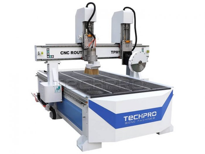 double heads cnc router with saw cutting