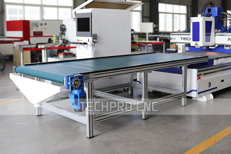 Automatic Unloading conveyor table of auto nesting cnc router